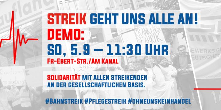 Streik geht alle an. Demo am 5.9, 11:30 Uhr vor dem Bildungsforum in Potsdam